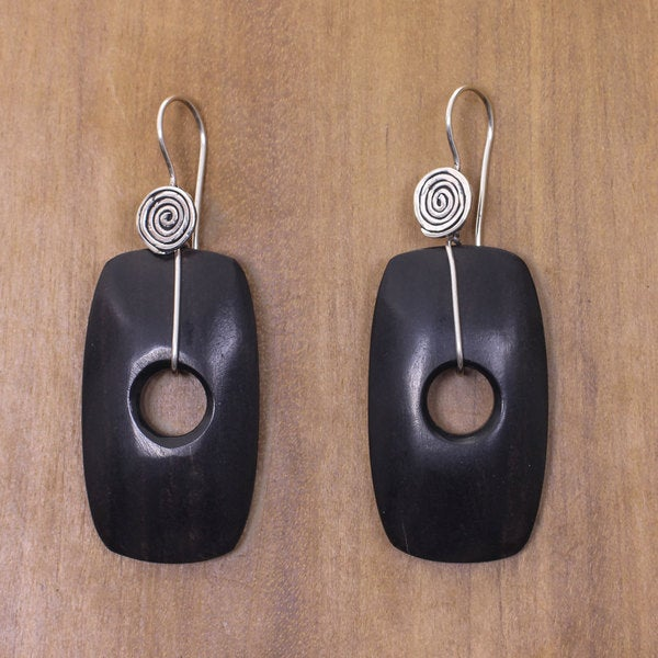 Sterling Silver Ebony Wood 'Tonga Tornado' Earrings (Indonesia)