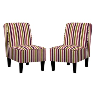 angelo:HOME Jules Modern Vintage Plum and Green Stripe Chair (Set of 2)