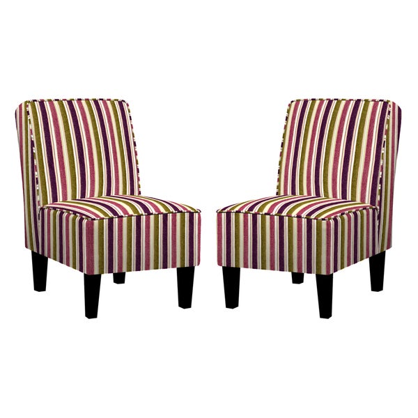 Angelo Home Jules Modern Vintage Plum And Green Stripe