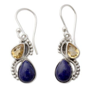 Sterling Silver 'Two Teardrops' Lapis Lazuli Citrine Earrings (India)