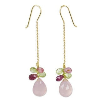 Gold Overlay 'Pink Siam' Chalcedony Tourmaline Earrings (Thailand)