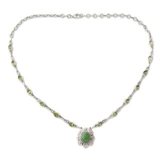 Sterling Silver 'Woodland Halo' Peridot Turquoise Necklace (India)