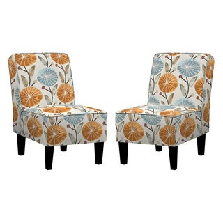 Angelo: HOME Jules Water Blue Lilly Armless Chair (Set of 2)