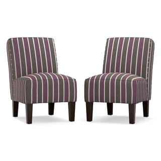 angelo:HOME Jules Purple and Grey Stripe Armless Chair (Set of 2)