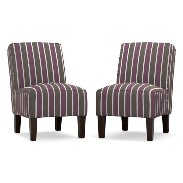 angelo:HOME Jules Purple and Gray Stripe Armless Chair (Setof 2)
