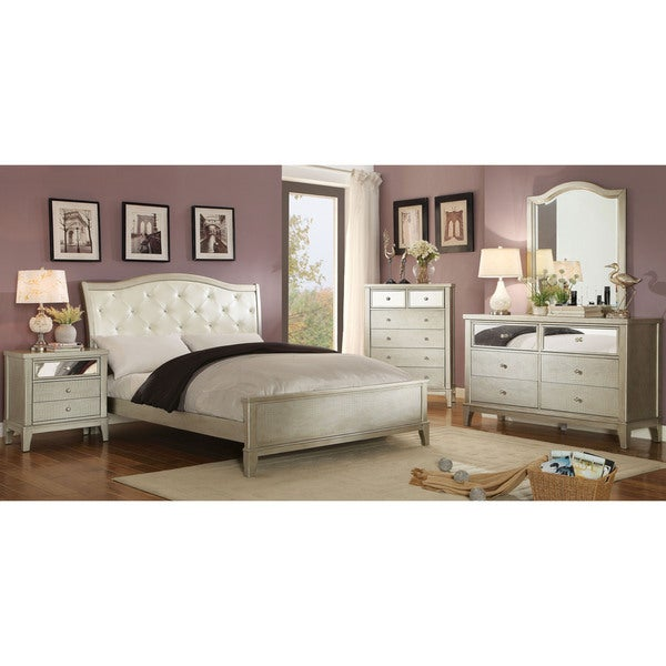 furniture of america divenna modern 4 piece crocodile silver bedroom