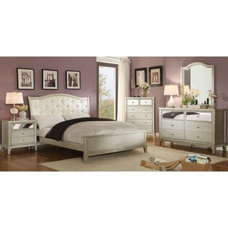 Furniture of America Divenna Modern 4-piece Crocodile Silver Bedroom Set