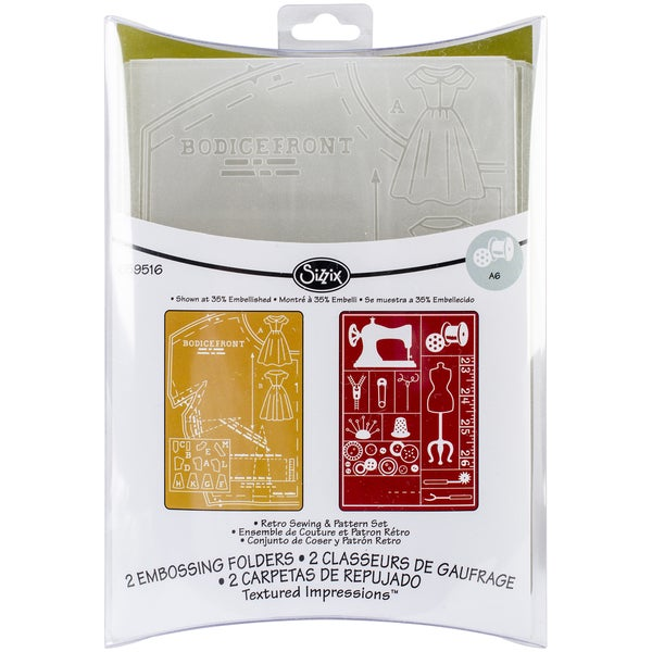 Sizzix Textured Impressions A6 Embossing Folders 2/PkgRetro Sewing & Pattern