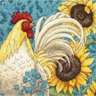 Gold Petite Rooster Counted Cross Stitch Kit6inX6in 18 Count