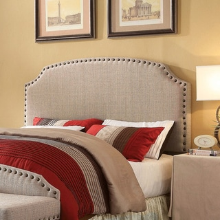 Furniture of America Emira Adjustable King-size Flax Upholstered Headboard