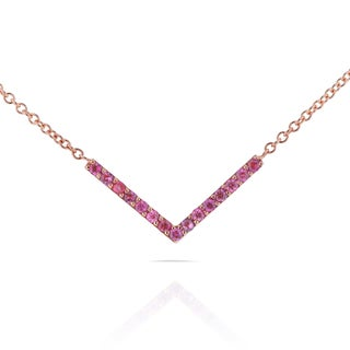 Annello 14k Rose Gold Breast Cancer Awareness 1/6ct TCW Pink Sapphire V-Shaped Chevron Necklace