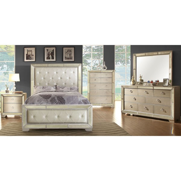 furniture of america maxine modern 4 piece silver bedroom set