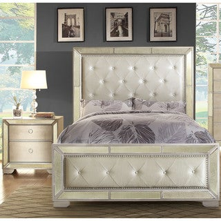 Furniture of America Maxine Modern 2-piece Silver Panel Bed and Nightstand Set
