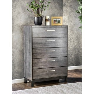 Furniture of America Silvine Contemporary Antique Grey 5-Drawer Chest
