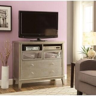 Furniture of America Divenna Modern Crocodile Silver Media Chest