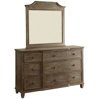 Furniture of America Gryphen Rustic 2-piece Wire-brushed Grey Dresser and Mirror Set