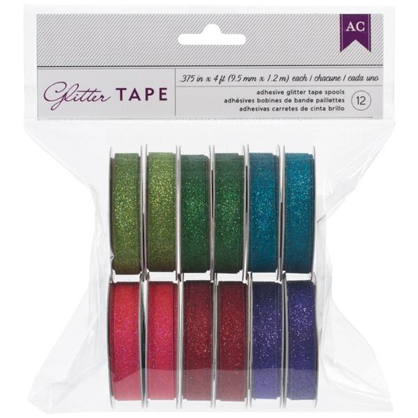 American Crafts Glitter Tape .375inX4' Each 12/PkgGreens