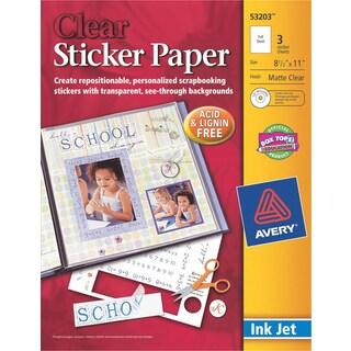Ink Jet Sticker Paper W/CD 8.5inX11inMatte Clear 3/Pkg