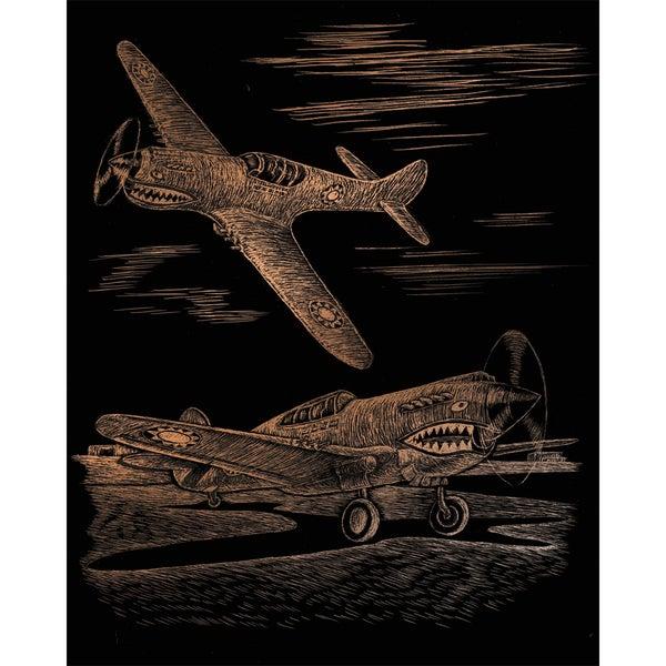 Copper Foil Engraving Art Kit 8inX10inWWII Fighter
