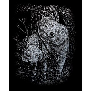 Silver Foil Engraving Art Kit 8inX10inWolves In The Trees