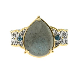 One-of-a-Kind Michael Valitutti Palladium Silver Labradorite and London Blue Topaz Ring