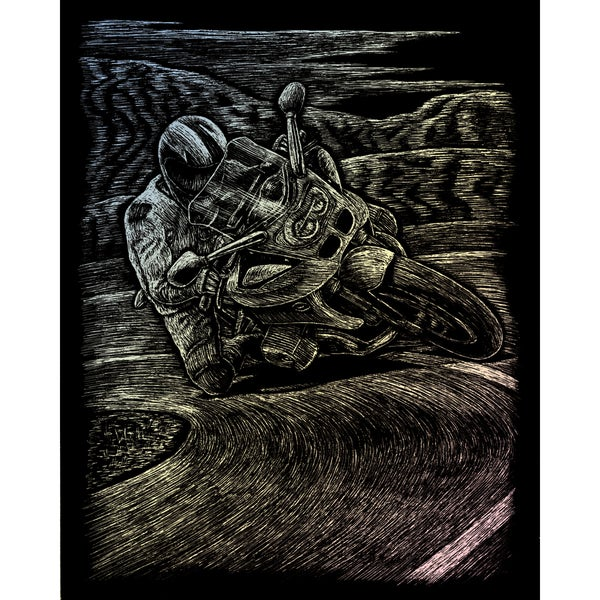 Holographic Foil Engraving Art Kit 8inX10inMotorcycle Race