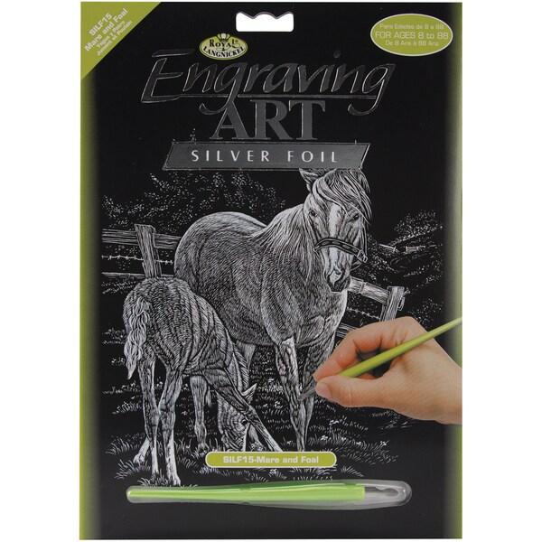 Silver Foil Engraving Art Kit 8inX10inMare & Foal