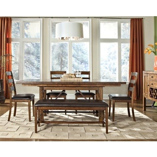Santa Clara 6-piece Rich Brandy Hardwood Dining Set