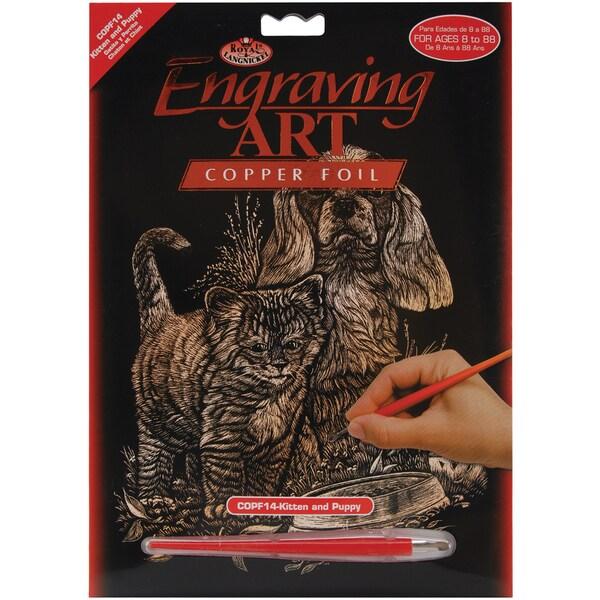 Copper Foil Engraving Art Kit 8inX10inKitten & Puppy