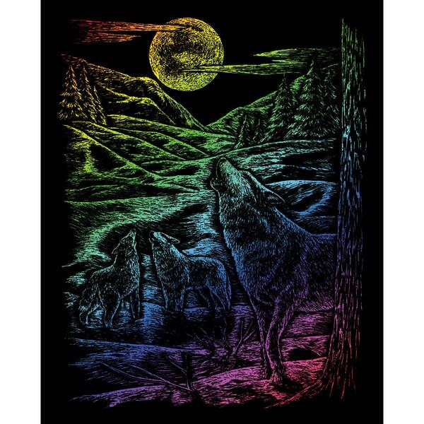 Rainbow Foil Engraving Art Kit 8inX10inHowling Wolves