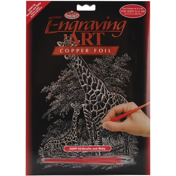 Copper Foil Engraving Art Kit 8inX10inGiraffe & Baby