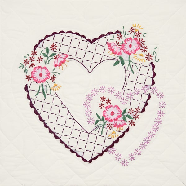 Stamped Quilt Blocks 18inX18in 6/PkgTwin Rose