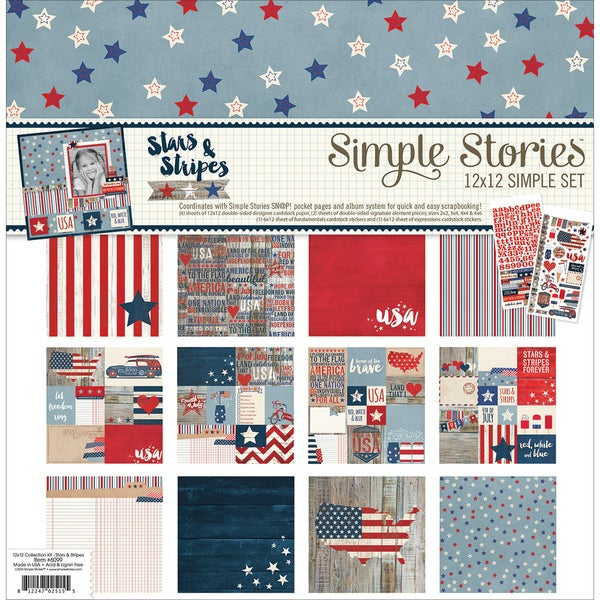 Simple Stories Simple Sets Collection Kit 12inX12inStars & Stripes