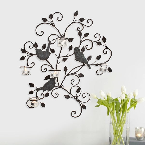 Adeco Decorative Iron Wall Hanging Tea Light Birds and Branches Candle Holder 16257409