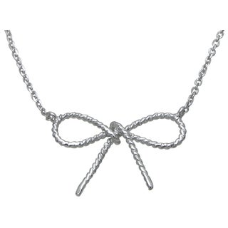 Plutus High Polish Sterling Silver Pretty Bow Tie Necklace
