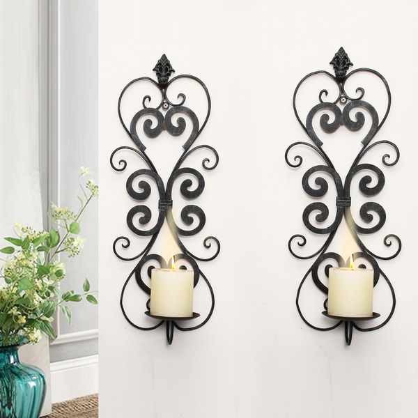 Adeco Decorative Iron Vertical Wall Hanging Pillar Hour Glass Candle Holder (Set of 2) 16257548