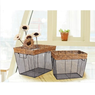 Adeco Black Iron Wire Rectangular Basket with Seagrass Wrapped Rim and Square Mesh Body (Set of 2)