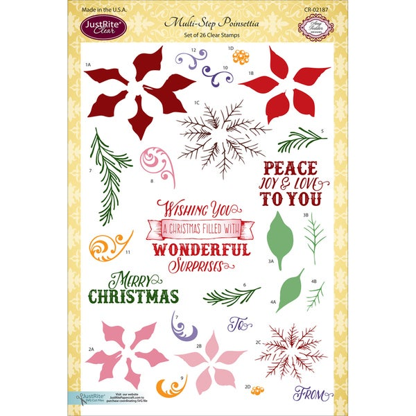 JustRite Papercraft Clear Stamp Set 6inX8inMultiStep Poinsettia