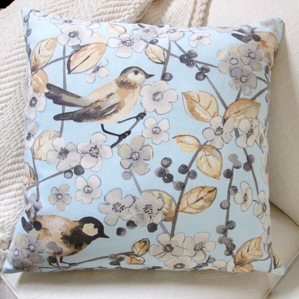 Artisan Pillows Indoor 20-inch Cherry Blossom/In the Air Songbird in Pale Blue Throw Pillow Cover 16259504
