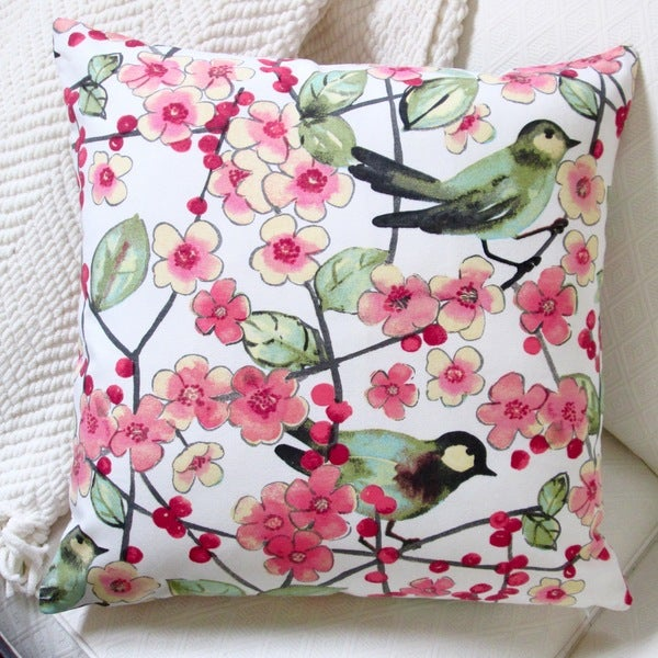 Artisan Pillows Indoor 20-inch In the Air Songbird and Pink Cherry Blossom Throw Pillow 16259505