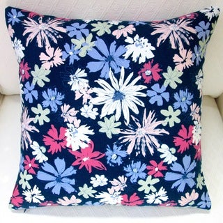 Artisan Pillows 20-inch Indoor Ink Outburst Flowers in Navy Blue Pillow