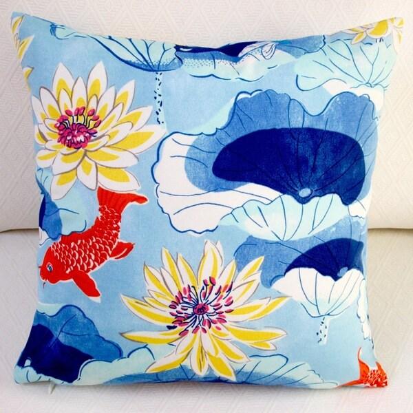 Artisan Pillows Outdoor 18-inch Lotus Lake Koi Fish in Cobalt/Blue Modern Animal Throw Pillow (Set of 2)