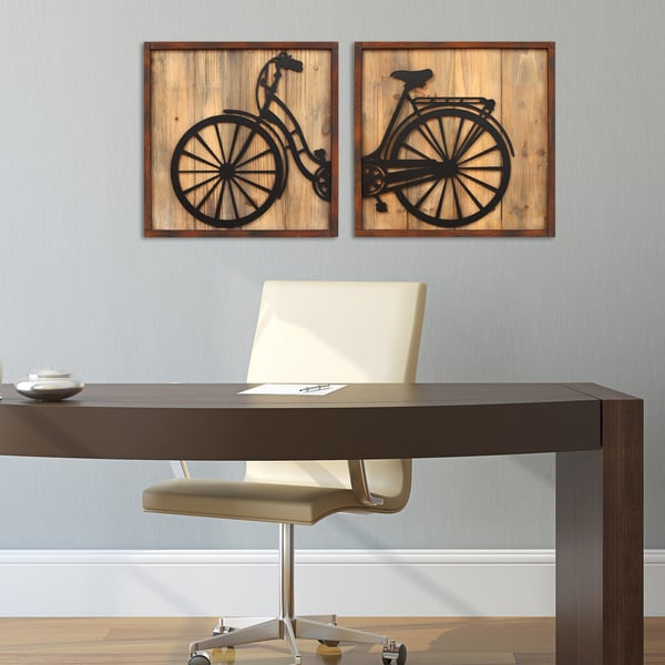 Http Www Overstock Com Home Garden Stratton Home Decor Set Of 2 Retro Bicycle Panels Wall Decor 10573727 Product Html