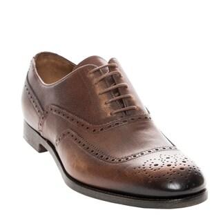 Prada Men's Burnished Leather Wingtip Oxfords