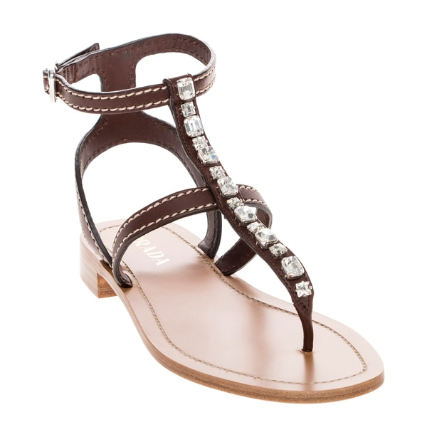 Prada Rhinestone Embellished Leather Thong Sandals