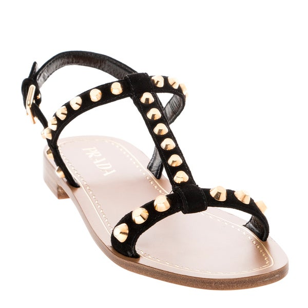 Prada Studded Suede Sandals
