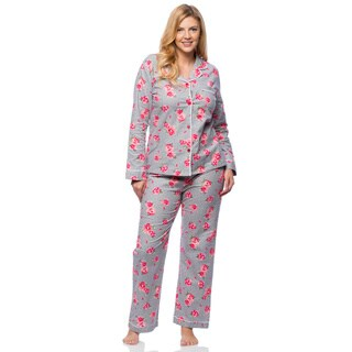 White Mark Plus Size Floral Print Slim-Fit Flannel Pajama Set