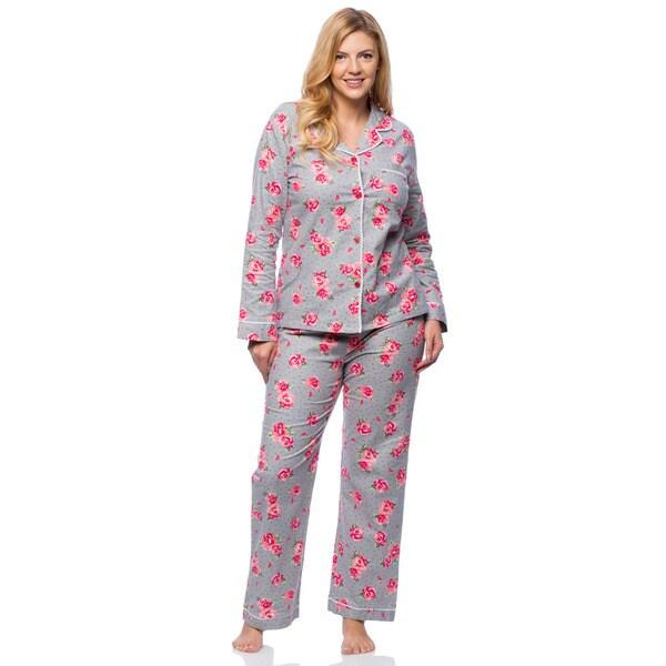 White Mark Plus Size Soft Floral Print Flannel Pajama Set