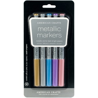 Metallic Markers Medium Point 5/PkgGold, Silver, Blue, Violet & Brown
