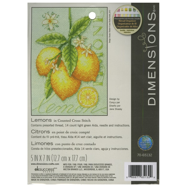 Lemons Mini Counted Cross Stitch Kit5inX7in 14 Count 16259934